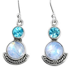 7.91cts natural rainbow moonstone topaz 925 silver dangle earrings r59538