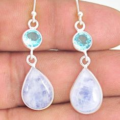 11.86cts natural rainbow moonstone topaz 925 silver dangle earrings r77367