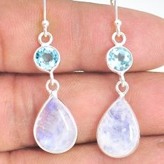 11.04cts natural rainbow moonstone topaz 925 silver dangle earrings r77371