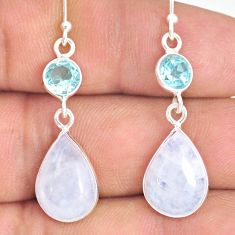 11.13cts natural rainbow moonstone topaz 925 silver dangle earrings r77374