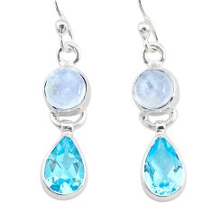 7.17cts natural rainbow moonstone topaz 925 silver dangle earrings r87119
