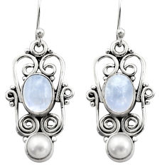 5.07cts natural rainbow moonstone white pearl 925 silver dangle earrings r21694