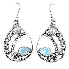 5.63cts natural rainbow moonstone white pearl 925 silver dangle earrings r59880