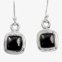 4.28cts natural rainbow obsidian eye 925 sterling silver dangle earrings r41105