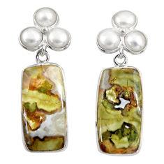 Clearance Sale- 21.01cts natural rainforest rhyolite jasper 925 silver dangle earrings d39698