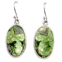 17.86cts natural rainforest rhyolite jasper 925 silver dangle earrings r45335