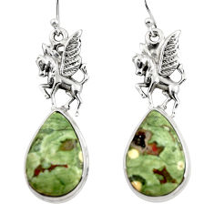 18.59cts natural rainforest rhyolite jasper 925 silver dangle earrings r46063