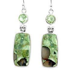 18.39cts natural rainforest rhyolite jasper 925 silver dangle earrings r75502