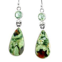 18.39cts natural rainforest rhyolite jasper 925 silver dangle earrings r75503
