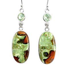 22.78cts natural rainforest rhyolite jasper 925 silver dangle earrings r75512