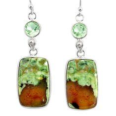 19.73cts natural rainforest rhyolite jasper 925 silver dangle earrings r75515