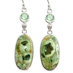 20.37cts natural rainforest rhyolite jasper 925 silver dangle earrings r75790