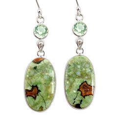 21.01cts natural rainforest rhyolite jasper 925 silver dangle earrings r75791