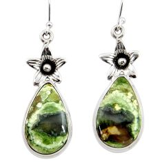 20.30cts natural rainforest rhyolite jasper 925 silver flower earrings r45337