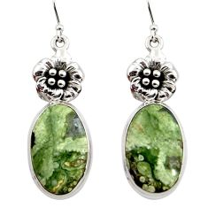 22.22cts natural rainforest rhyolite jasper 925 silver flower earrings r45338