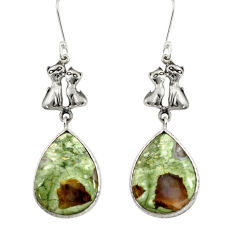 Clearance Sale- 16.28cts natural rainforest rhyolite jasper 925 silver two cats earrings d39622