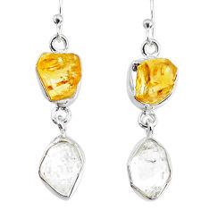 11.55cts natural raw citrine herkimer diamond dangle handmade earrings r74346