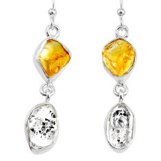 11.25cts natural raw citrine herkimer diamond raw silver earrings r74345