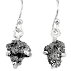 3.97cts natural raw diamond rough 925 sterling silver handmade earrings r79321