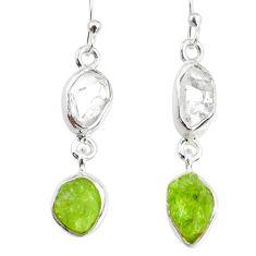 10.28cts natural raw peridot herkimer diamond dangle handmade earrings r74350