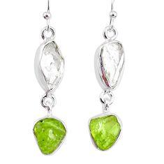 10.79cts natural raw peridot herkimer diamond dangle handmade earrings r74353