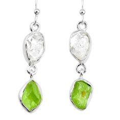 10.63cts natural raw peridot herkimer diamond dangle handmade earrings r74360