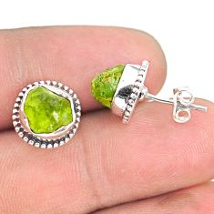 7.13cts natural rough peridot raw 925 sterling silver dangle earrings r75109