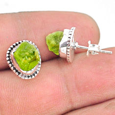 6.68cts natural rough peridot raw 925 sterling silver dangle earrings r75110