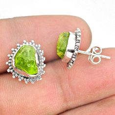 7.56cts natural rough peridot raw 925 sterling silver dangle earrings r75114