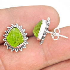 7.97cts natural rough peridot raw 925 sterling silver dangle earrings r75118