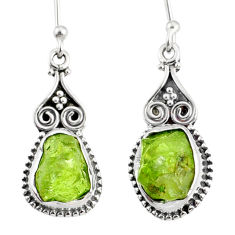 10.32cts natural rough peridot raw 925 sterling silver dangle earrings r75181