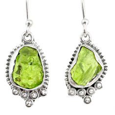 8.93cts natural rough peridot raw 925 sterling silver dangle earrings r75183
