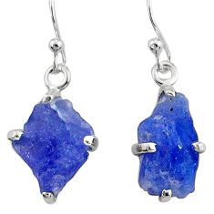 7.42cts natural raw tanzanite rough 925 sterling silver dangle earrings r79430