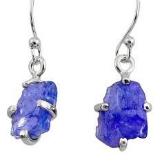 6.92cts natural raw tanzanite rough 925 sterling silver dangle earrings r79432