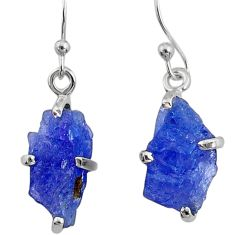 7.92cts natural raw tanzanite rough 925 sterling silver dangle earrings r79433
