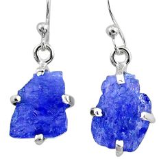 7.42cts natural raw tanzanite rough 925 sterling silver dangle earrings r79439