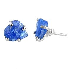 6.36cts natural raw tanzanite rough 925 sterling silver stud earrings r79502