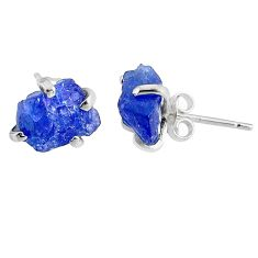 6.33cts natural raw tanzanite rough 925 sterling silver stud earrings r79505