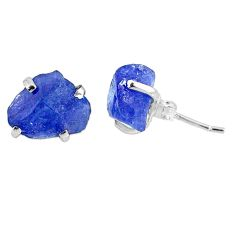 6.94cts natural raw tanzanite rough 925 sterling silver stud earrings r79512