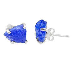 7.36cts natural raw tanzanite rough 925 sterling silver stud earrings r79513