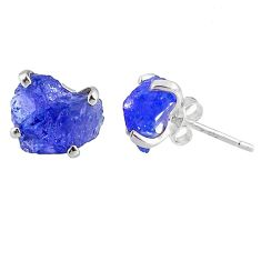 6.80cts natural raw tanzanite rough 925 sterling silver stud earrings r79515