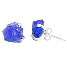7.53cts natural raw tanzanite rough 925 sterling silver stud earrings r79521
