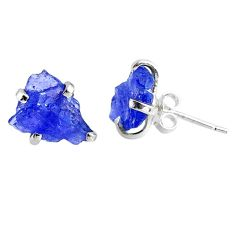6.92cts natural raw tanzanite rough 925 sterling silver stud earrings r79522