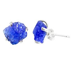 8.09cts natural raw tanzanite rough 925 sterling silver stud earrings r79523
