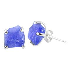 6.92cts natural raw tanzanite rough 925 sterling silver stud earrings r79527