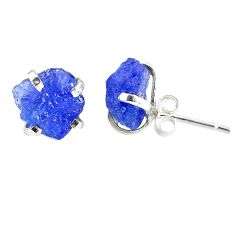 7.53cts natural raw tanzanite rough 925 sterling silver stud earrings r79528