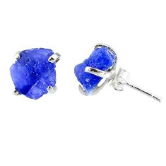 7.48cts natural raw tanzanite rough 925 sterling silver stud earrings r79533