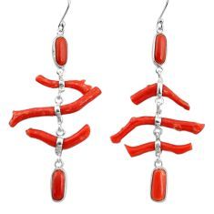 19.73cts natural red coral 925 sterling silver dangle earrings jewelry r33205