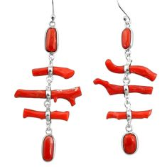19.76cts natural red coral 925 sterling silver dangle earrings jewelry r33212