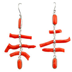 21.44cts natural red coral 925 sterling silver dangle earrings jewelry r33226